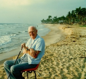 Arthur C. Clarke on the beach in front of his Sri Lanka scuba diving resort where he could float in inner space.